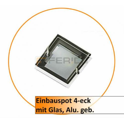 Einbauauspot 4-eck mit Glas chrom