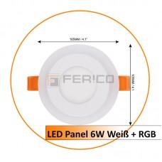 LED Panel - Rund - Innen Weiß / Rahmen RGB - 6W