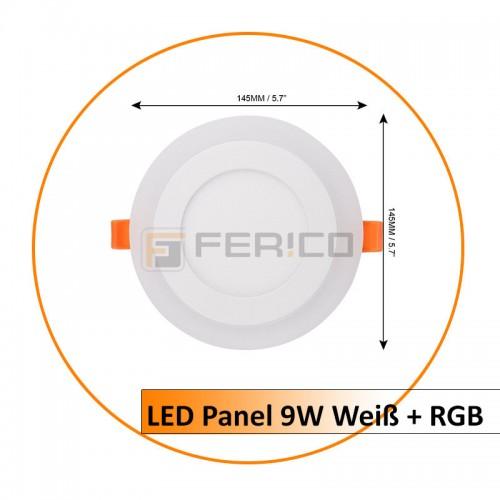 LED Panel - Rund - Innen Weiß / Rahmen RGB - 9W
